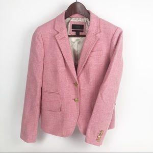 J Crew Schoolboy Blazer 4 Herringbone Pink Gold